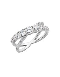 Lord And Taylor Sterling Silver Cubic Zirconia Interlocking Ring