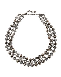 Jose And Maria Barrera Gunmetal Triple Strand Filigree Crystal Necklace