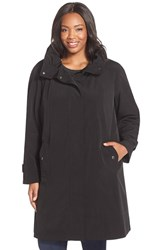Plus Size Women's Gallery Ruched Collar A Line Raincoat With Removable Liner Black