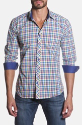 Jared Lang Trim Fit Plaid Sport Shirt Yellow Plaid