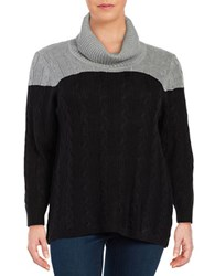 Calvin Klein Plus Colorblocked Cowlneck Sweater Grey Black