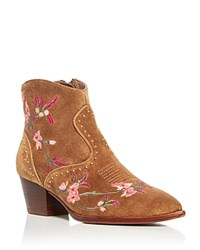 Ash Heidi Embroidered Pointed Toe Booties Russet