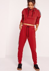 Missguided Stripe Jogger Red Red