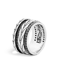 John Hardy Sterling Silver Modern Chain Band Ring With Black Sapphire Black Silver