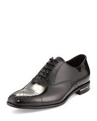 Prada Lace Up Leather Dress Shoe Black