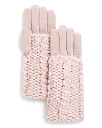 Rebecca Minkoff Cable Knit Tech Gloves Pale Pink
