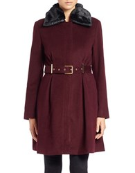 Bagatelle Faux Fur Collared Belted Coat