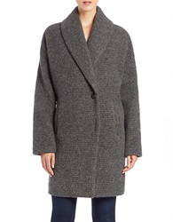 7 For All Mankind Wool Blend Cocoon Coat Charcoal Grey