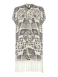 Vince Camuto Printed Kimono With Fringe Detail Multi Coloured