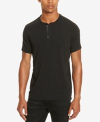 Kenneth Cole Reaction Men's Henley With Faux Leather Trim Black