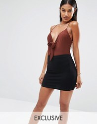 Club L Tie Front Slinky Detailed Bodysuit Chocolate Brown