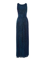 Biba Metallic Column Event Maxi Dress Blue