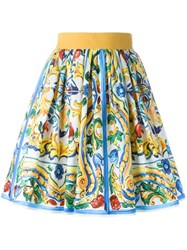 Dolce And Gabbana Majolica Print Skirt Multicolour