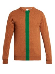 Paul Smith Green Stripe Cashmere Crew Neck Sweater Tan Multi
