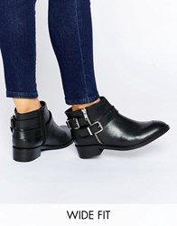 Asos After Dark Wide Fit Leather Ankle Boots Black