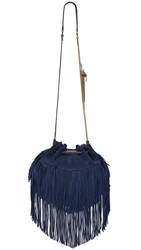Diane Von Furstenberg Love Power Large Suede Fringe Bag Dark Night
