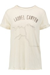 Current Elliott The Rolled Sleeve Printed Linen And Cotton Blend Jersey T Shirt Off White