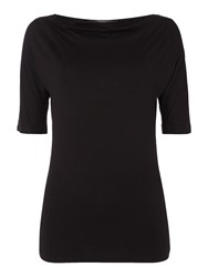 Max Mara Multia Short Sleeve Cowl Neck Top Black