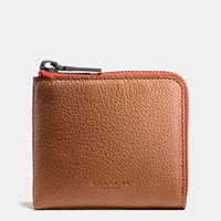 Coach Half Zip Wallet In Pebble Leather Saddle Carmine