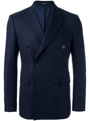Dinner Double Breasted Peaked Lapels Blazer Blue