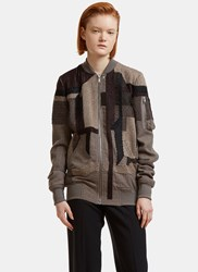 Rick Owens Patchwork Bomber Jacket Brown