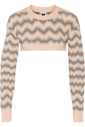 M Missoni Cropped Crochet Knit Sweater White