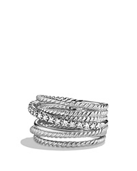 David Yurman Crossover Wide Ring With Diamonds Silver