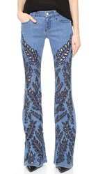 Alice Olivia Ryley Embroidered Bell Jeans Light Indigo