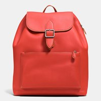 Coach Archival Rucksack In Glovetanned Leather Dark Gunmetal Carmine Saddle