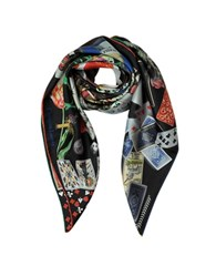Christian Lacroix Pretty Games Print Silk Square Scarf Black