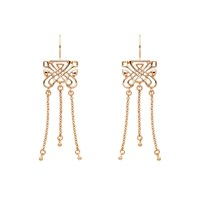 Biba Rose Gold Emblem Triple Tassel Earrings