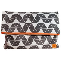 Mulxiply Canvas And Leather Clutch Grey
