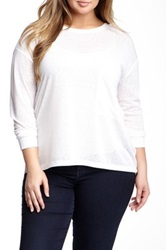 Rdi Long Sleeve Oversized Pocket Tee Plus Size White