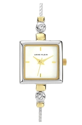 Anne Klein Square Bangle Watch 19Mm Silver Gold