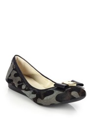 Cole Haan Tali Camo Print Calf Hair And Leather Ballet Flats Grey Camo