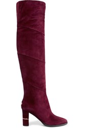 Jimmy Choo Maira Paneled Suede Over The Knee Boots Claret