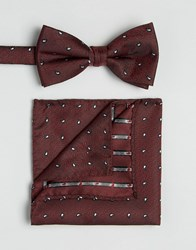 Selected Homme Tie And Pocket Square Red