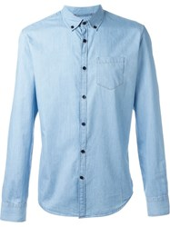 Woolrich Contrast Button Down Shirt Blue