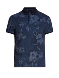 Etro Floral Print Cotton Pique Polo Shirt Navy