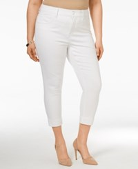 Melissa Mccarthy Seven7 Plus Size Cropped Pencil Jeans Bianca White