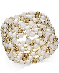 Inc International Concepts Gold Tone White And Metal Bead Coil Bracelet Only At Macy's