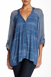 Gypsy05 Button Down Blouse Blue