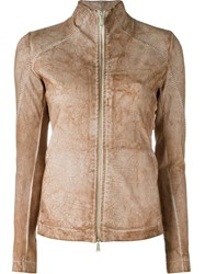 10Sei0otto Distressed Zip Jacket Nude And Neutrals