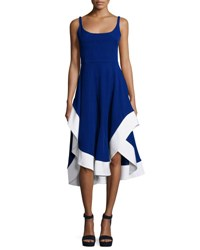 Esteban Cortazar Sleeveless Scoop Neck Colorblock Dress Royal Blue