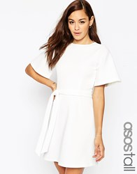 Asos Tall Kimono Sleeve A Line Mini Dress White