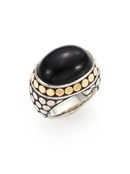 John Hardy Batu Dot Onyx 18K Yellow Gold And Sterling Silver Dome Ring