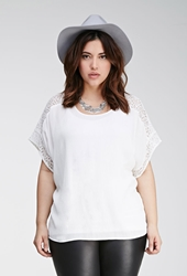 Forever 21 Lace Paneled Dolman Top Cream