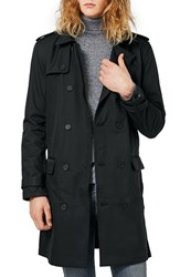 Topman Men's Longline Double Breasted Trench Coat