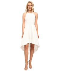 Aidan Mattox Sleeveless Basket Weave Pattern Halter With High Low Hem Ivory Women's Dress White