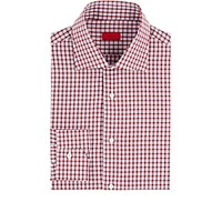 Isaia Men's Checked Cotton Dress Shirt Red